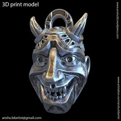 Download 3D printer designs Demon skull vol3 Pendant 3D, AS_3d_art