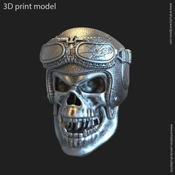 Download 3D printer templates Biker helmet skull vol14 ring, anshu3dartist