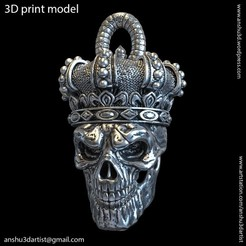 Download STL files King skull with crown vol1 pendant, AS_3d_art