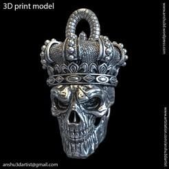 Descargar diseños 3D Colgante cráneo de rey con corona vol1, anshu3dartist