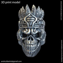 Download STL files Tribal skull vol1 ring, AS_3d_art