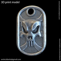 The_punisher_skull_vol1_tag_k1.jpg Télécharger fichier STL Le crâne du punisher vol1 Tag Pendentif • Modèle pour impression 3D, AS_3d_art