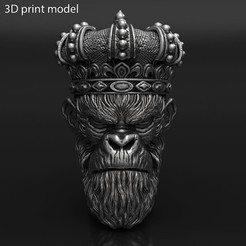 Monkey_king_with_crown_vol1_pendant_K1.jpg Download STL file Monkey king with crown vol1 Pendant Jewelry • Object to 3D print, AS_3d_art