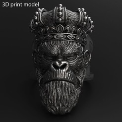MKWC_vol1_ring_K1.jpg Download STL file Monkey king with crown vol1 ring Jewelry • 3D printing object, AS_3d_art
