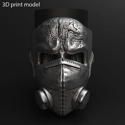 Skull_with_mask_vol2_ring_K1.jpg Download STL file skull with mask vol2 ring jewelry • 3D printer object, AS_3d_art