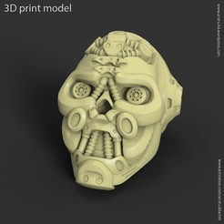 3D printer files Mech robotic skull vol1 ring, anshu3dartist