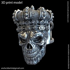 Download STL king skull with crown vol1 ring, AS_3d_art