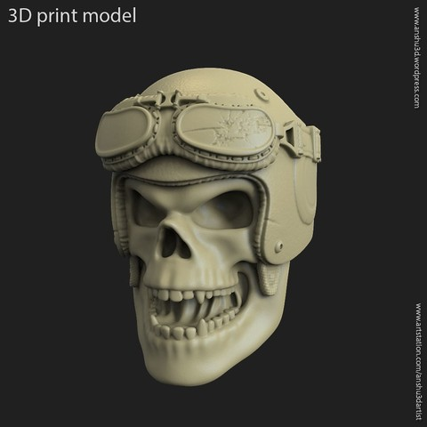 3D print files Biker helmet skull vol4 pendant, anshu3dartist