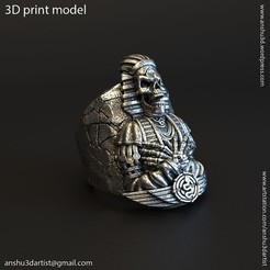 Egyptian_skull_vol2_ring_K1(1).jpg Download STL file Egyptian skull vol2 ring • 3D printable model, AS_3d_art