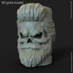 Descargar archivos STL lowpoly Skull bearded vol1 flower pot, AS_3d_art