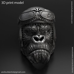 Biker_monkey_vol1_ring_K1.jpg Download STL file Biker Monkey vol1 ring jewelry • 3D printer object, AS_3d_art