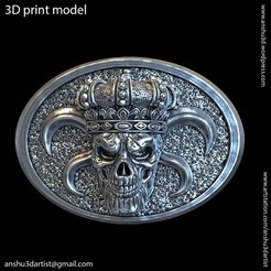 Descargar modelo 3D Cráneo de rey con hebilla de cinturón crown vol1, AS_3d_art