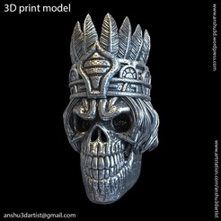 Download 3D printing designs tribal skull vol1 pendant, AS_3d_art