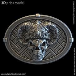 Download 3D print files Demon skull vol4 belt buckle, AS_3d_art