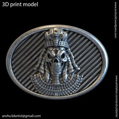 Download 3D printer designs Egyptian skull vol1 belt buckle and relief, AS_3d_art