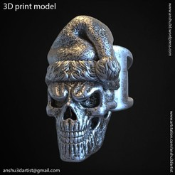 SS_vol2_ring_k1.jpg Download STL file santa claus skull vol2 ring • 3D printable template, AS_3d_art