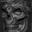 Download 3D printing templates robotic skull vol 13 ring, anshu3dartist