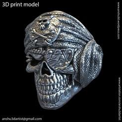 Download 3D printer designs Pirate skull vol1 ring 3D print model, anshu3dartist