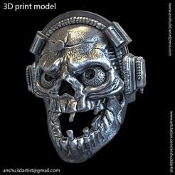 Descargar diseños 3D cráneo con anillo vol2 para auriculares, AS_3d_art