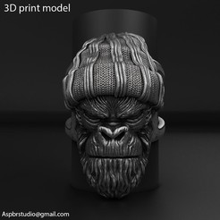 Gangster_monkey_vol1_ring_K1.jpg Download STL file Gangster Monkey vol1 Ring jewelry • 3D printable object, AS_3d_art