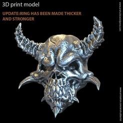 Download STL file Demon biker skull vol1 ring, anshu3dartist