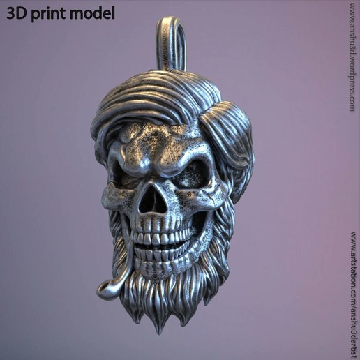 Download 3D printer model Skull bearded vol5 pendant, anshu3dartist