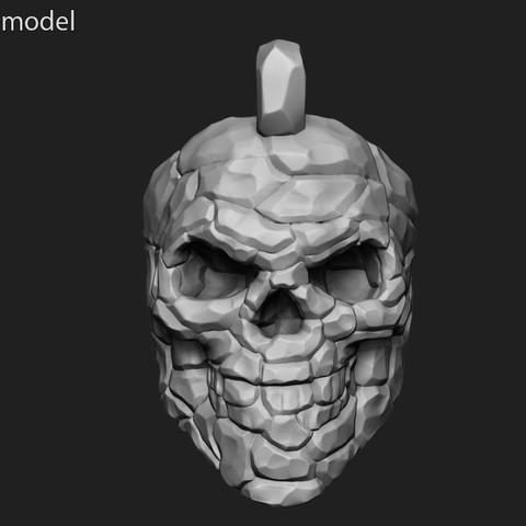 3D printing model Skull Rock Pendant vol 1 3D print model, anshu3dartist
