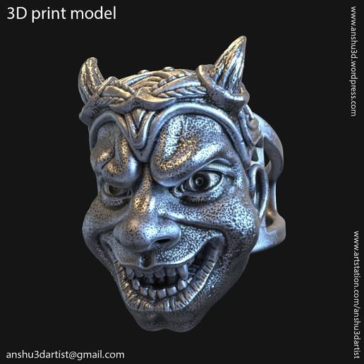 Download 3D printer designs Demon skull vol2 ring, anshu3dartist