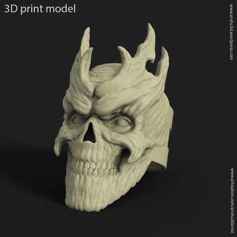 Download 3D printer designs Skull wooden vol7 ring, anshu3dartist