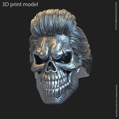 Download 3D printer designs Skull bearded vol4 ring, AS_3d_art