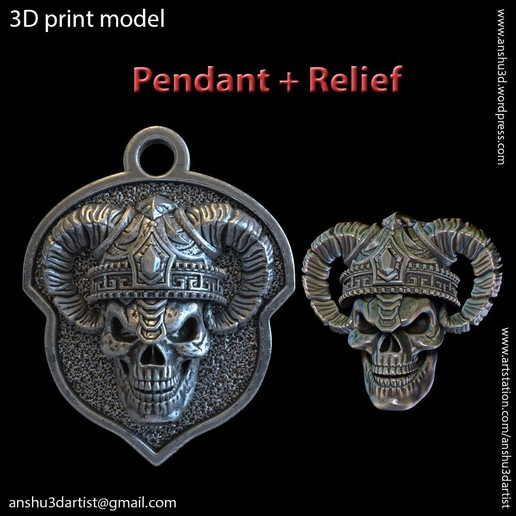 Descargar modelo 3D Calavera del demonio vol4 relieve y Colgante, AS_3d_art