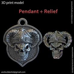Download 3D printer designs Demon skull vol4 relief and Pendant, AS_3d_art
