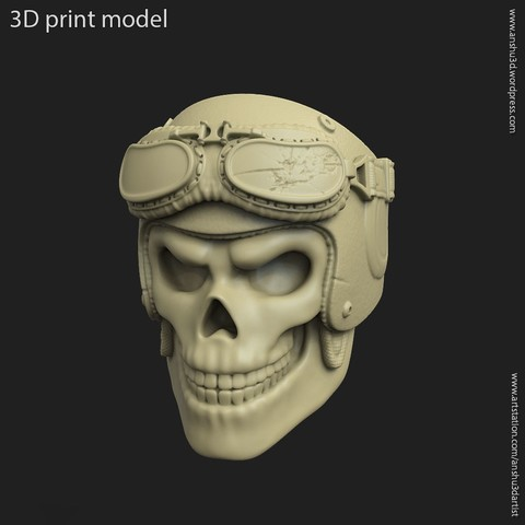 STL Biker helmet skull vol2 ring, anshu3dartist