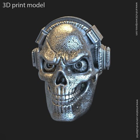 Download 3D printing designs Skull with headphone vol3 ring, AS_3d_art