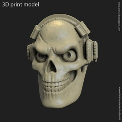 Download 3D printer designs skull with headphone vol3 pendant, anshu3dartist