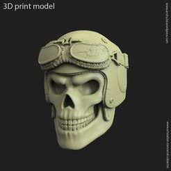 Download 3D printer designs Biker helmet skull vol3 pendant, anshu3dartist