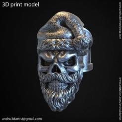 Imprimir en 3D Anillo vol1 cráneo de Santa Claus, AS_3d_art