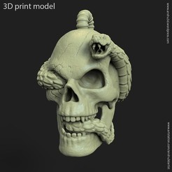 3D printer models Biker snake skull vol11 Pendant, anshu3dartist
