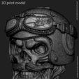 3D print files Biker skull vol1B pendant, anshu3dartist