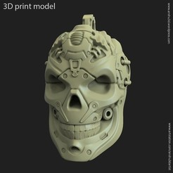 3D printer files Robotic skull vol13 pendant, anshu3dartist