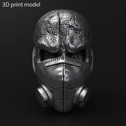 Skull_with_mask_vol2_K1.jpg Download STL file Skull with mask vol2 Pendant jewelry • 3D printer design, AS_3d_art