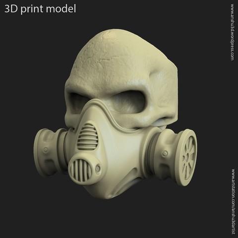 3D printing model skull with mask ring, anshu3dartist