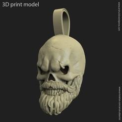 STL files Skull bearded vol3 pendant, anshu3dartist