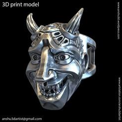 Download 3D printing templates Demon skull vol3 ring, anshu3dartist