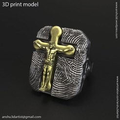 Jesus_cross_vol1_ring_K1.jpg Download STL file Jesus cross vol1 ring • 3D print template, AS_3d_art
