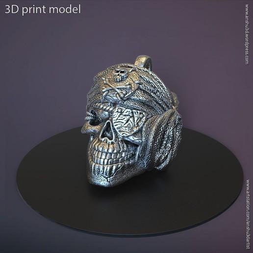 Download STL file Pirate skull pendant vol 1 3D print model, anshu3dartist
