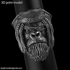 Pirate_monkey_vol2_ring_K1.jpg Télécharger fichier STL Bijoux de bague du singe pirate vol2 • Design pour imprimante 3D, AS_3d_art