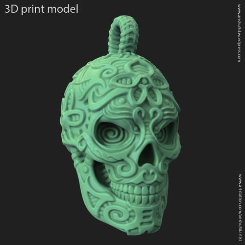 3D print files Biker Skull vol12 pendant, anshu3dartist