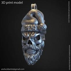 Download 3D printing files Santa claus skull vol1 pendant, anshu3dartist