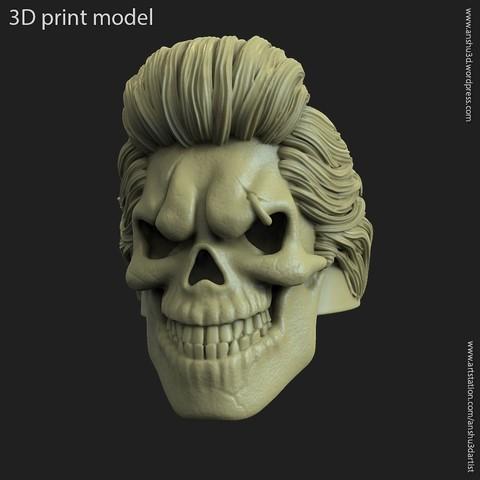 3D printer models Skull bearded vol4 ring, anshu3dartist